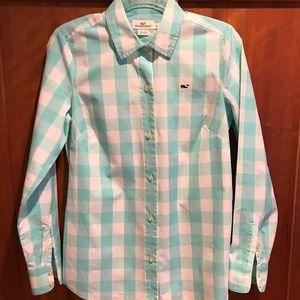 Vineyard Vines pink and blue button down shirt